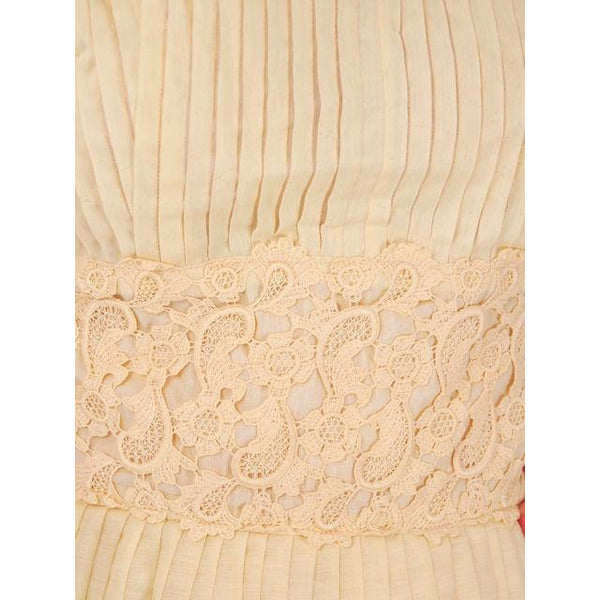 Vintage Day Dress Pale Yellow Crystal Pleated 1950s Small - The Best Vintage Clothing  - 5