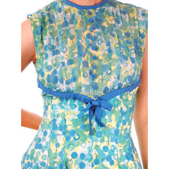 "Vintage Day Dress Blue/Green "" Cherries"" Cotton 1950s Ann Marsh Small - The Best Vintage Clothing  - 4"