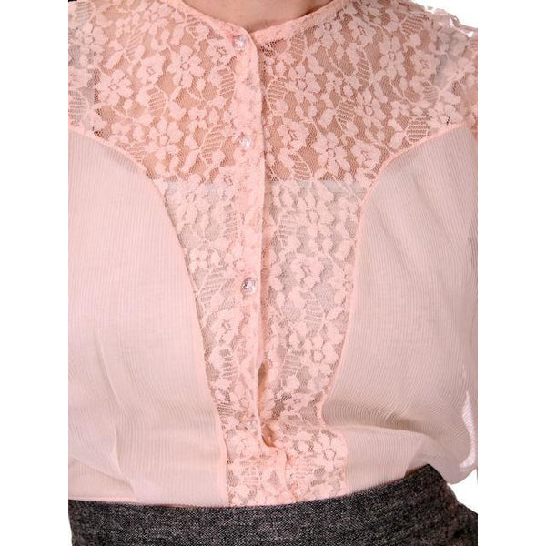 Vintage Buff Pink  Sheer Nylon Lace Blouse 1950s Small - The Best Vintage Clothing  - 3