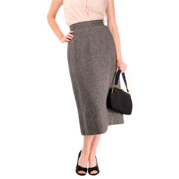 Vintage Pencil Skirt Heathered Charcoal Gray Small Late 1940s - The Best Vintage Clothing  - 1