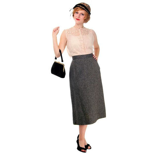 Vintage Pencil Skirt Heathered Charcoal Gray Small Late 1940s - The Best Vintage Clothing  - 2