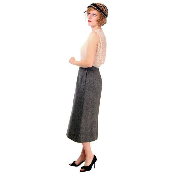 Vintage Pencil Skirt Heathered Charcoal Gray Small Late 1940s - The Best Vintage Clothing  - 3