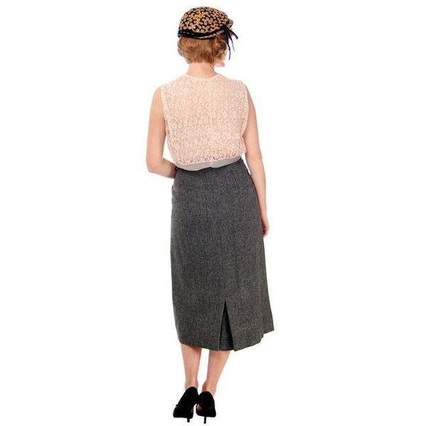 Vintage Pencil Skirt Heathered Charcoal Gray Small Late 1940s - The Best Vintage Clothing  - 4