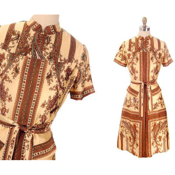 "Vintage Silk Shirtwaist  Day Dress ""Lita"" Signed Block Print 1970s Medium - The Best Vintage Clothing  - 4"