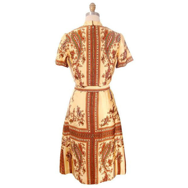 "Vintage Silk Shirtwaist  Day Dress ""Lita"" Signed Block Print 1970s Medium - The Best Vintage Clothing  - 3"