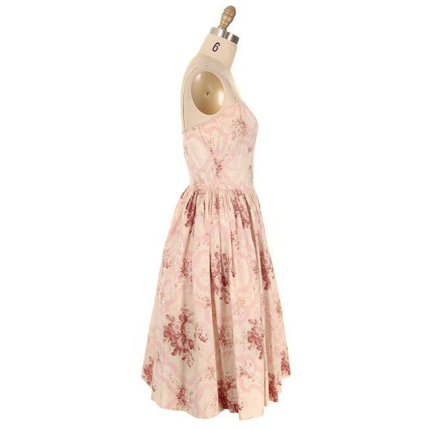 Vintage Sundress Pale Pinks Floral Print Spaghetti Straps 1950s Small - The Best Vintage Clothing  - 2