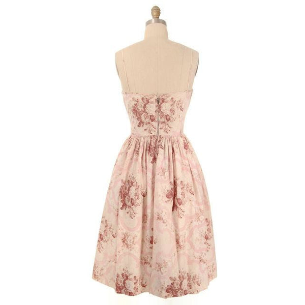 Vintage Sundress Pale Pinks Floral Print Spaghetti Straps 1950s Small - The Best Vintage Clothing  - 3