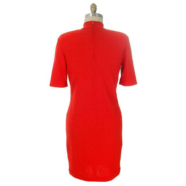 Vintage Orange Wool Knit Dress Steve Fabrikant  Former St. John Knit 1970s S-M - The Best Vintage Clothing  - 3