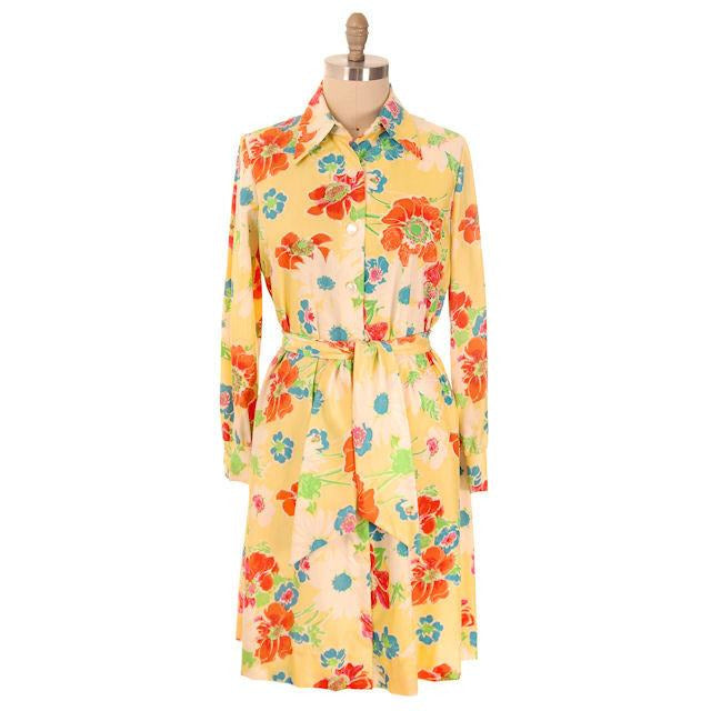 Vintage A-line Dress Yellow Printed Floral Large 1970s Leo Narducci - The Best Vintage Clothing  - 1