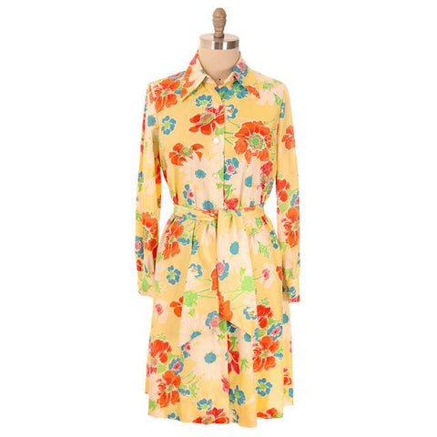 Vintage A-line Dress Yellow Printed Floral Large 1970s Leo Narducci