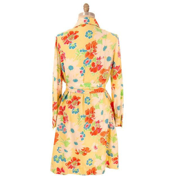 Vintage A-line Dress Yellow Printed Floral Large 1970s Leo Narducci - The Best Vintage Clothing  - 4