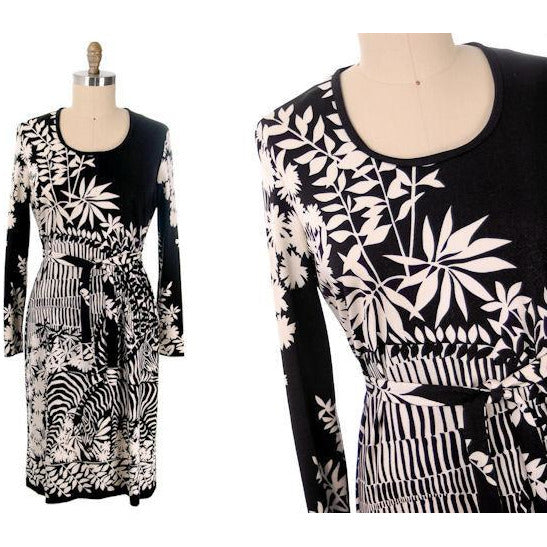 Vintage Knit Dress by Gene Berk for Paganne Black & White Zebras 1970s M-XL - The Best Vintage Clothing  - 2