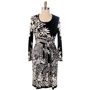 Vintage Knit Dress by Gene Berk for Paganne Black & White Zebras 1970s M-XL - The Best Vintage Clothing  - 1