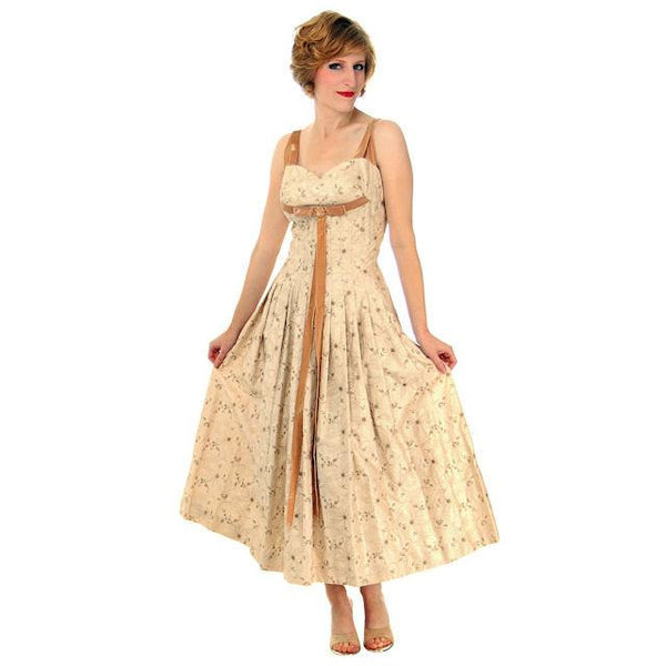 Vintage Summer Gown Embroidered Cotton Carlye 1950s Full Skirt Small - The Best Vintage Clothing  - 2