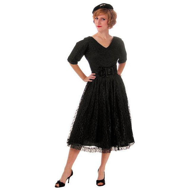 Vintage Cocktail Dress Black Lace Full Skirt Flattering Waistband 1950s Small - The Best Vintage Clothing  - 1