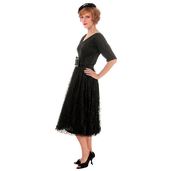 Vintage Cocktail Dress Black Lace Full Skirt Flattering Waistband 1950s Small - The Best Vintage Clothing  - 2