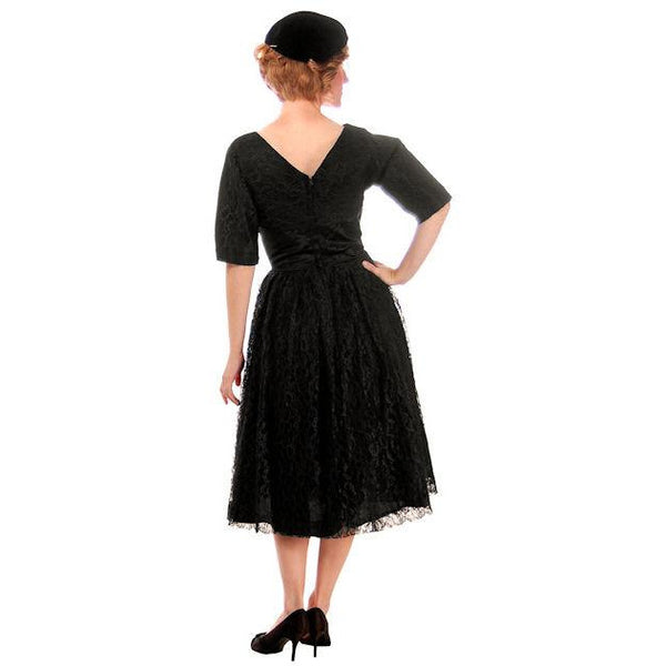 Vintage Cocktail Dress Black Lace Full Skirt Flattering Waistband 1950s Small - The Best Vintage Clothing  - 3