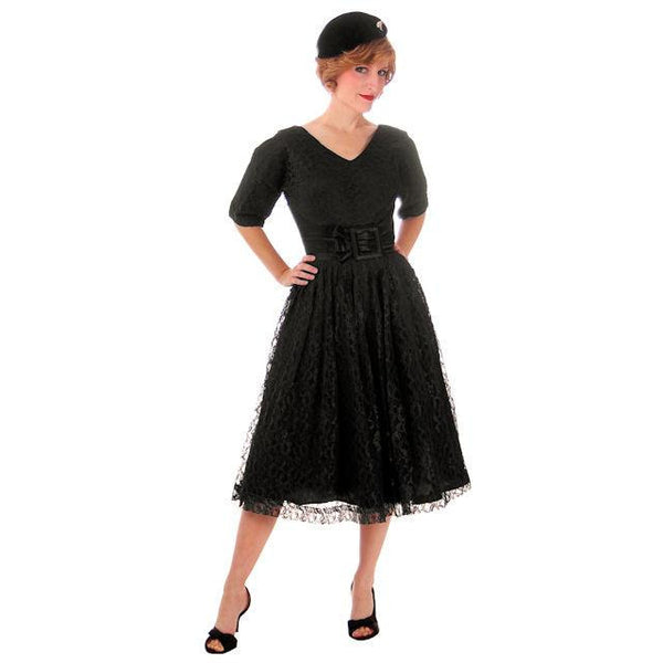 Vintage Cocktail Dress Black Lace Full Skirt Flattering Waistband 1950s Small - The Best Vintage Clothing  - 5