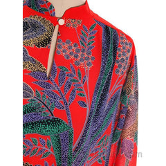 True Vintage Georgia Keyloun Tunic Red Blue Print M 1970s - The Best Vintage Clothing  - 4