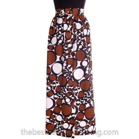Vintage 1970s Polyester Fly Away Skirt Cool Brown Circles Bubbles Small