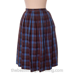 True Vintage 1950s Plaid Skirt Blue Cotton Pleated Shamrock Small - The Best Vintage Clothing  - 1