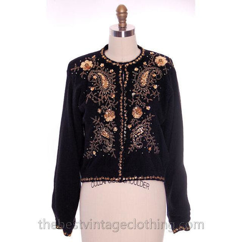 Vintage 1980s Wool Beaded Cardigan Sweater Black M Gold Beads Goldbergs