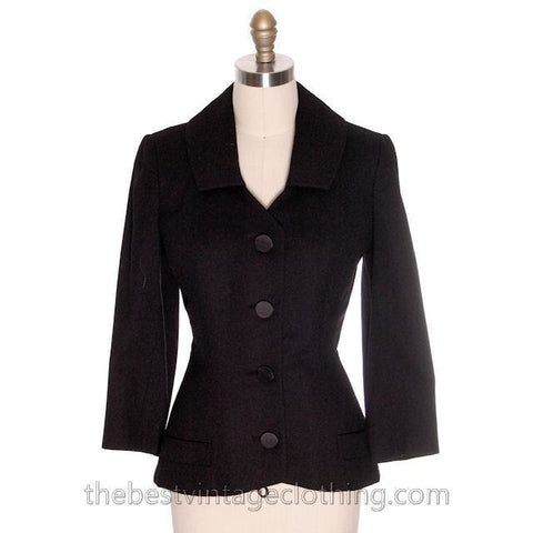 Vintage 1950s Blazer Jacket Black Wool  Manor-Bourne M - The Best Vintage Clothing  - 1