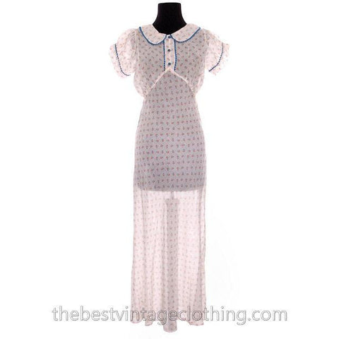 Pretty Vintage 1930s Bias Cut Cotton Printed Nightgown Puffed Sleeves Not Worn 40 Bust