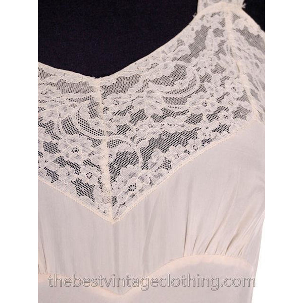 Vintage Fischer Heavenly Silk Lingerie Bias Cut Slip 1940s Small Wide Lace - The Best Vintage Clothing  - 5