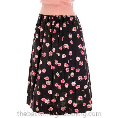 Vintage 1940s Cotton Skirt Pink Roses Print on Black M - The Best Vintage Clothing  - 1