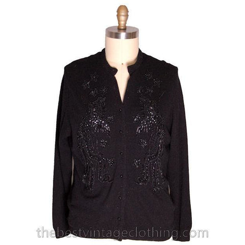 Vintage 1950s Beaded Sweater Black Beads On Black Wool to XL