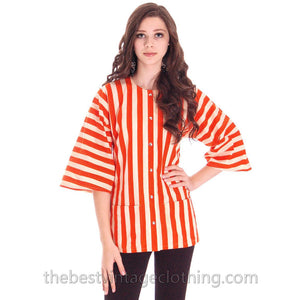 Vintage Vuokko Finland Striped Coat Top Orange & White 36/6 100% Cotton - The Best Vintage Clothing  - 1
