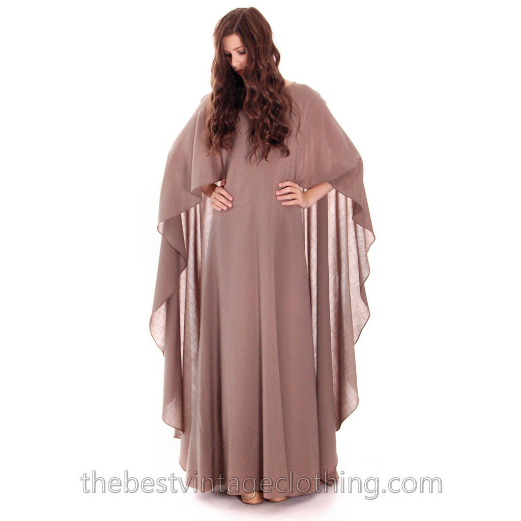 Stunning Vuokko Circle Cape Gown 1960s Taupe Wool Voile Iconic Design Finland One of a Kind 38 /8