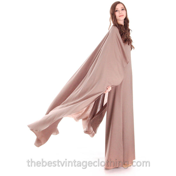 Stunning Vuokko Circle Gown 1960s Taupe Wool Voile Iconic Design Finland One of a Kind 38 /8 - The Best Vintage Clothing  - 8