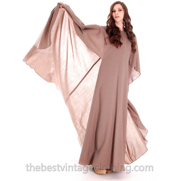 Stunning Vuokko Circle Gown 1960s Taupe Wool Voile Iconic Design Finland One of a Kind 38 /8 - The Best Vintage Clothing  - 9