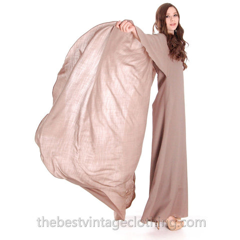 Stunning Vuokko Circle Gown 1960s Taupe Wool Voile Iconic Design Finland One of a Kind 38 /8 - The Best Vintage Clothing  - 1