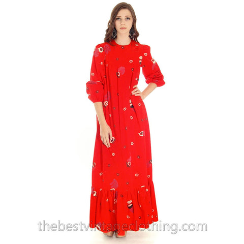Vintage 1970s Dress Pia & Paula Maxi Fab Red Print 38/UK 12/US 8-10