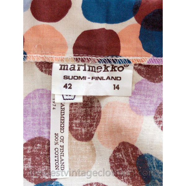 Vintage 1974 Marimekko Designer Maxi Dress Bubble Print 40/12 Polka Dots Cotton - The Best Vintage Clothing  - 5