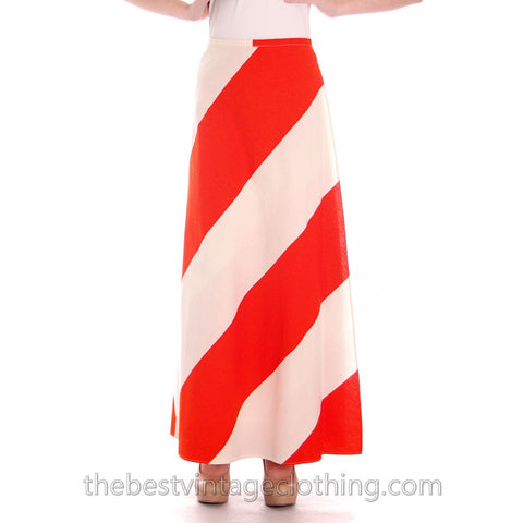 Vintage Vuokko 1970s Awning Stripe Maxi Wrap Skirt Orange & White M - The Best Vintage Clothing  - 1
