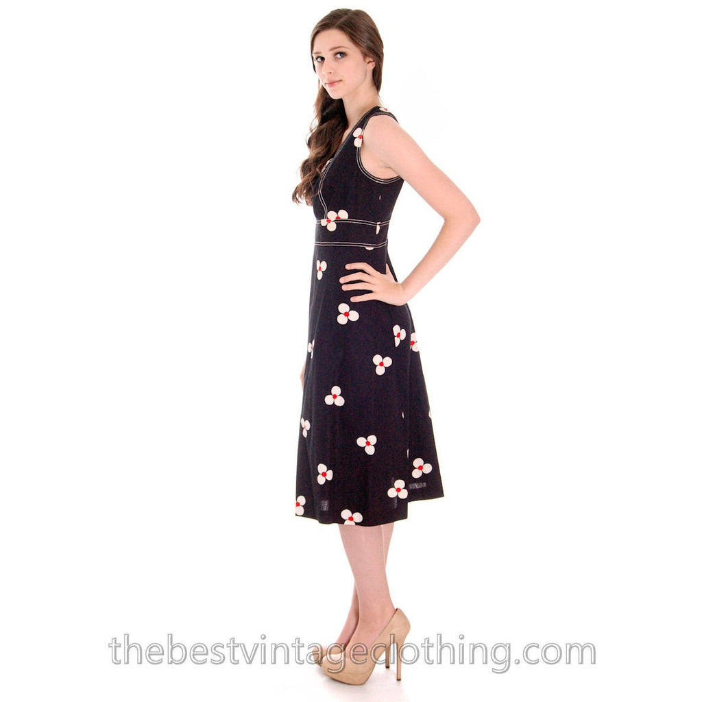 2e43392ab26a ... Vintage Merry Finn Summer Dress Black FLoral Print 1970s M - The Best  Vintage Clothing ...