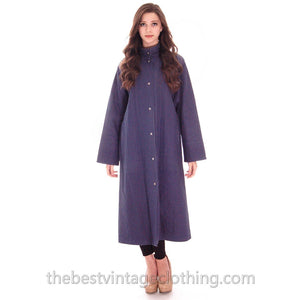 Vintage 1970s Vuokko Maxi Coat Indigo Speckled Print Blue Tent A line XS - The Best Vintage Clothing  - 1