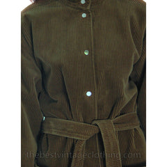 Vintage 1970s Vuokko Suomi Finland Cotton Corduroy Coat Snap Front Mod 42 - The Best Vintage Clothing  - 4