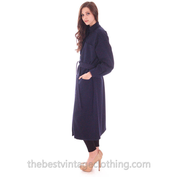 Vintage 1970s Vuokko Suomi Finland Blue Wool Coat Snap Front Mod S - The Best Vintage Clothing  - 2