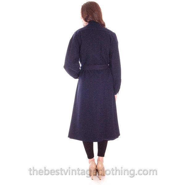Vintage 1970s Vuokko Suomi Finland Blue Wool Coat Snap Front Mod S - The Best Vintage Clothing  - 3