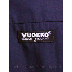 Vintage 1970s Vuokko Suomi Finland Blue Wool Coat Snap Front Mod S - The Best Vintage Clothing  - 5
