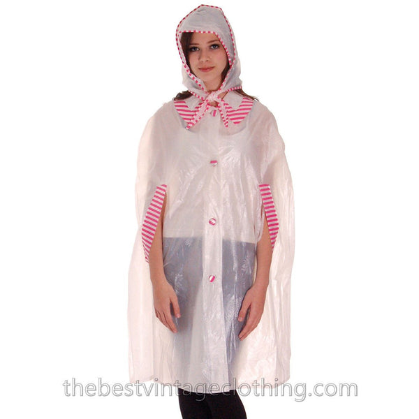 Vintage 1950s Vinyl Raincoat See Through Sheer Pink