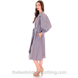 Vintage Vuokko Cotton Tent Dress 1970s Gray Stripes XXS - The Best Vintage Clothing  - 1