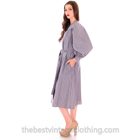 Vintage Vuokko Cotton Tent Dress 1970s Gray Stripes XXS