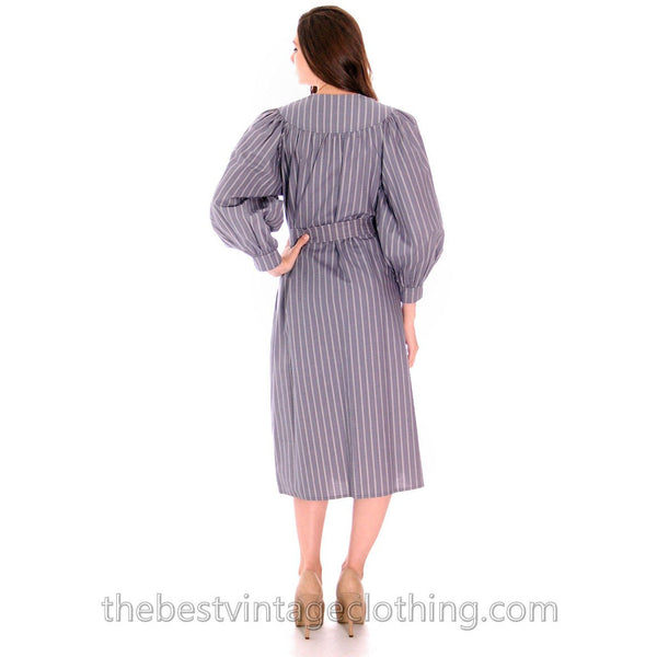 Vintage Vuokko Cotton Tent Dress 1970s Gray Stripes XXS - The Best Vintage Clothing  - 4