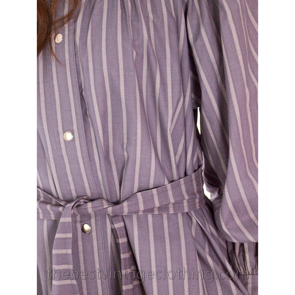 Vintage Vuokko Cotton Tent Dress 1970s Gray Stripes XXS - The Best Vintage Clothing  - 5
